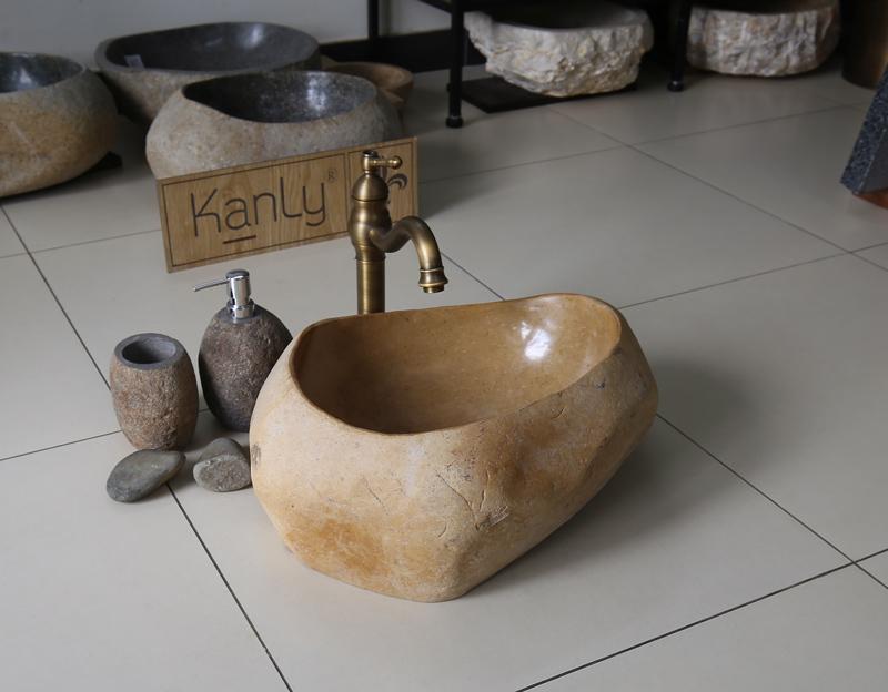 Chậu rửa bằng đá cuội MAR25D màu vàng tự nhiên độc đáo