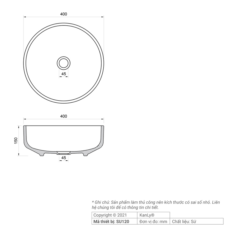 Thông số kích thước lavabo sứ hoa văn mỹ thuật SU120