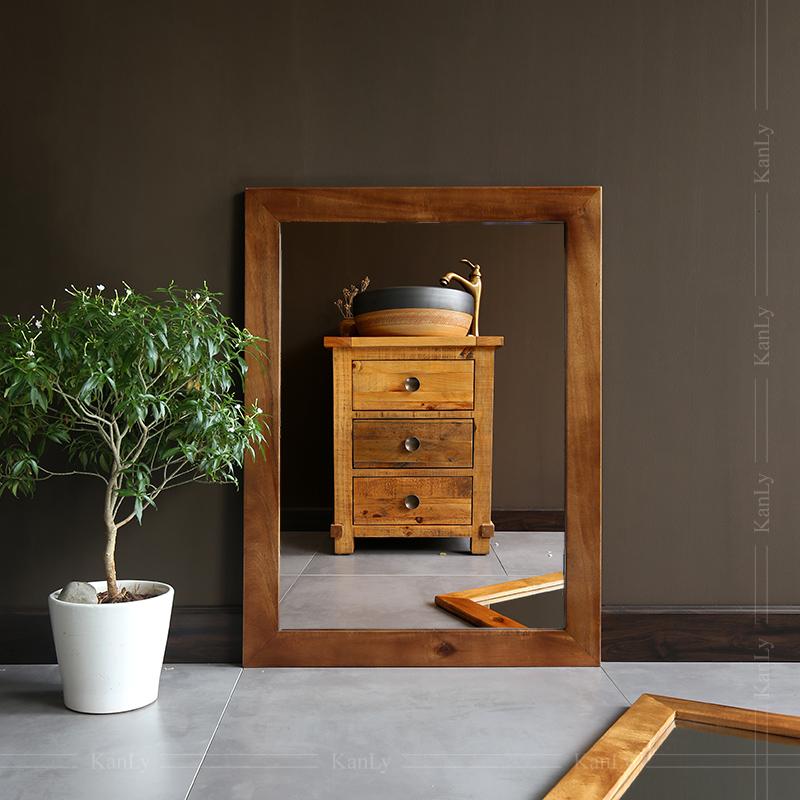 Gương soi phòng tắm khung bằng gỗ