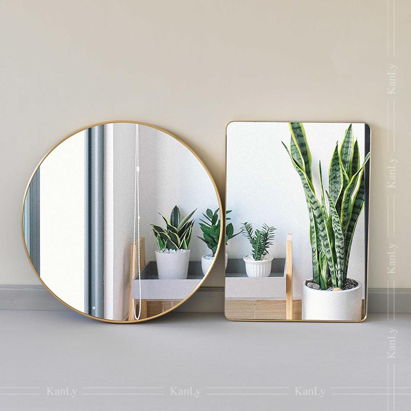 Gương soi phòng tắm hình tròn và hình chữ nhật bằng đồng thau