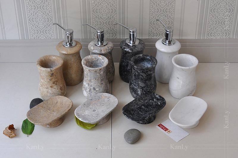 Bộ lọ đựng bàn chải phòng tắm bằng đá tự nhiên