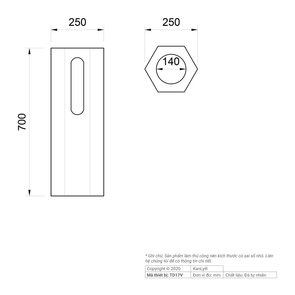 Thông số kích thước trụ đế để lavabo TD17V