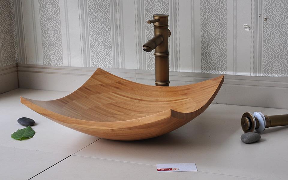 Chậu rửa mặt bằng gỗ, bồn, lavabo bằng gỗ tre