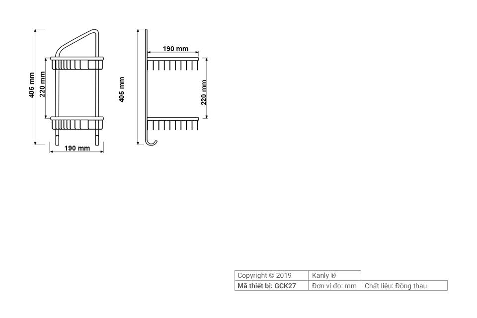 Thông số chi tiết lắp đặt kệ góc nhà tắm 2 tầng