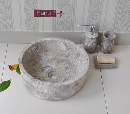Bộ lọ đựng trong phòng tắm bằng đá tự nhiên nguyên khối