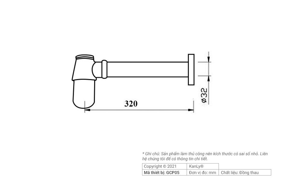 Thông số kích thước ống thoát lavabo, GCP05