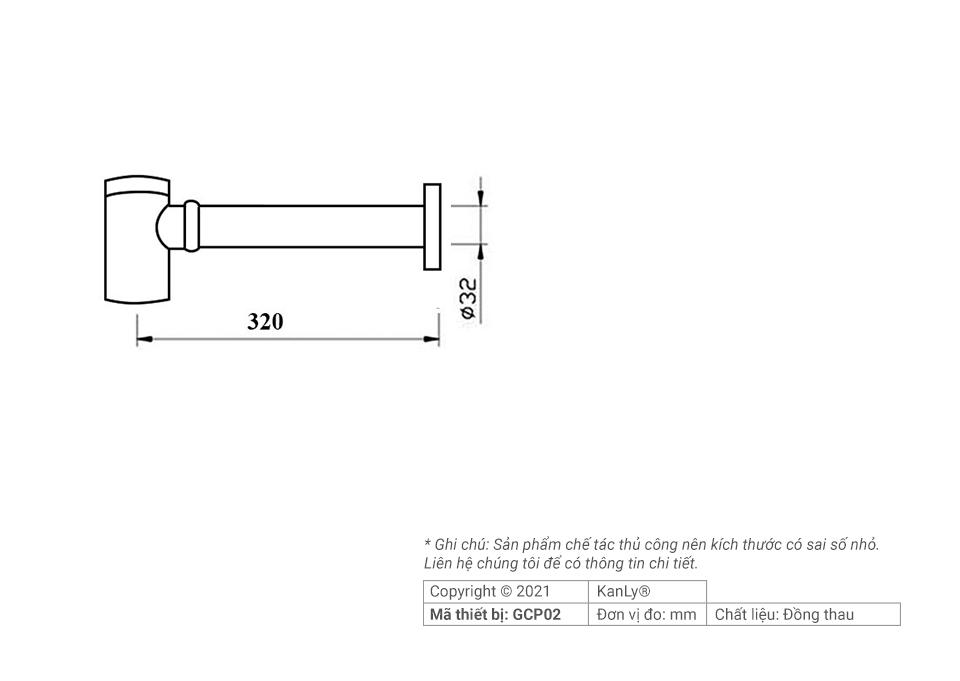 Thông số kích thước ống thoát lavabo, GCP02