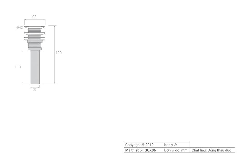 Thông số chi tiết lắp đặt bộ xả cho lavabo đá GCX06