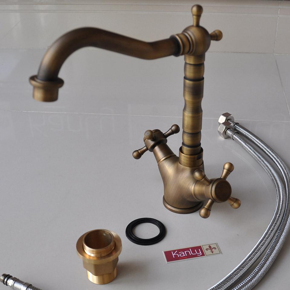 Vòi nước cổ điển, bằng đồng thau, nóng lạnh