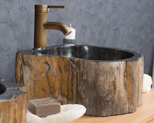 Chậu rửa mặt, rửa tay, Lavabo, bằng gỗ hóa thạch, lavabo gỗ