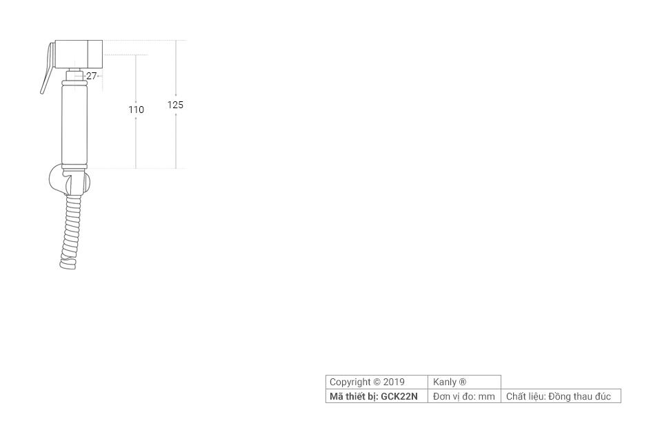 Thông số chi tiết lắp đặt vòi xịt toilet bằng đồng GCK22N
