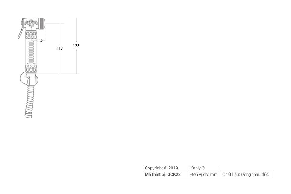 Thông số chi tiết lắp đặt vòi xịt rửa cổ điển, đồng thau