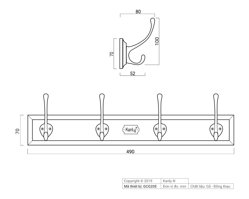 Chi tiết kỹ thuật móc treo quần áo bằng gỗ GCG20E