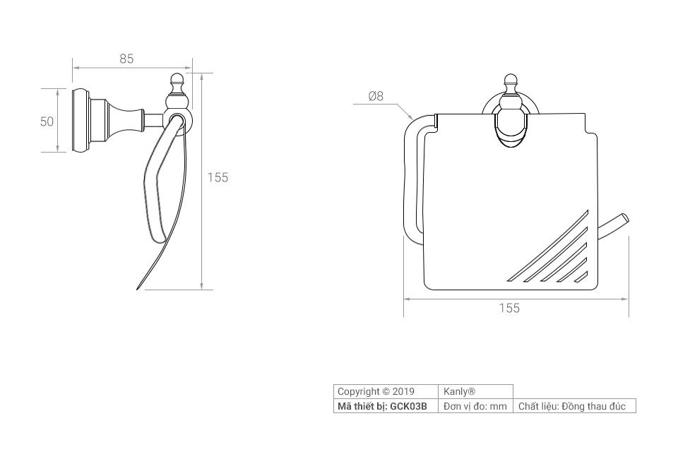 Sơ đồ chi tiết móc treo giấy vệ sinh GCK03B