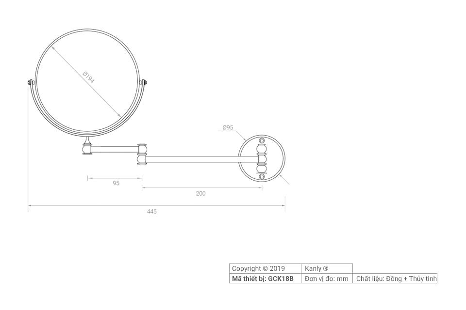 Sơ đồ chi tiết gương nhà tắm bằng đồng GCK18B