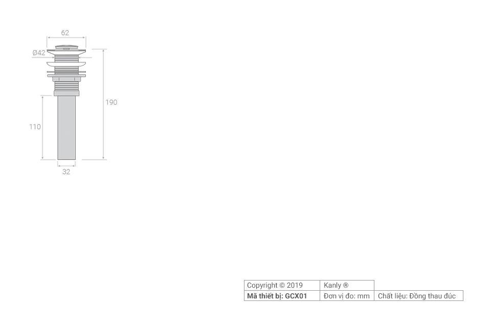 Thông số chi tiết lắp đặt đầu xả lavabo, bộ xả, nút xả GCX01