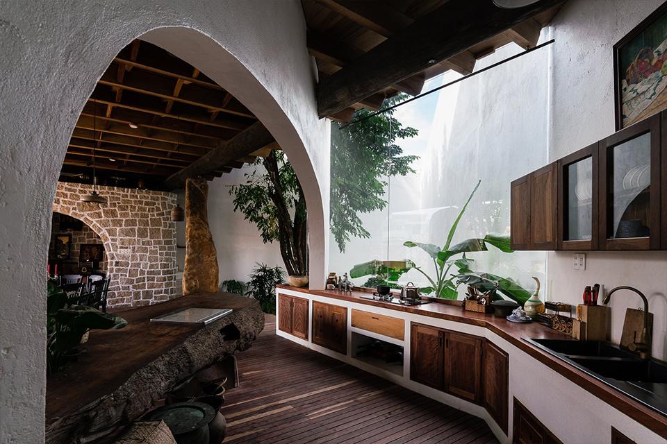 Không gian kiến trúc với các thiết bị vệ sinh chất liệu tự nhiên