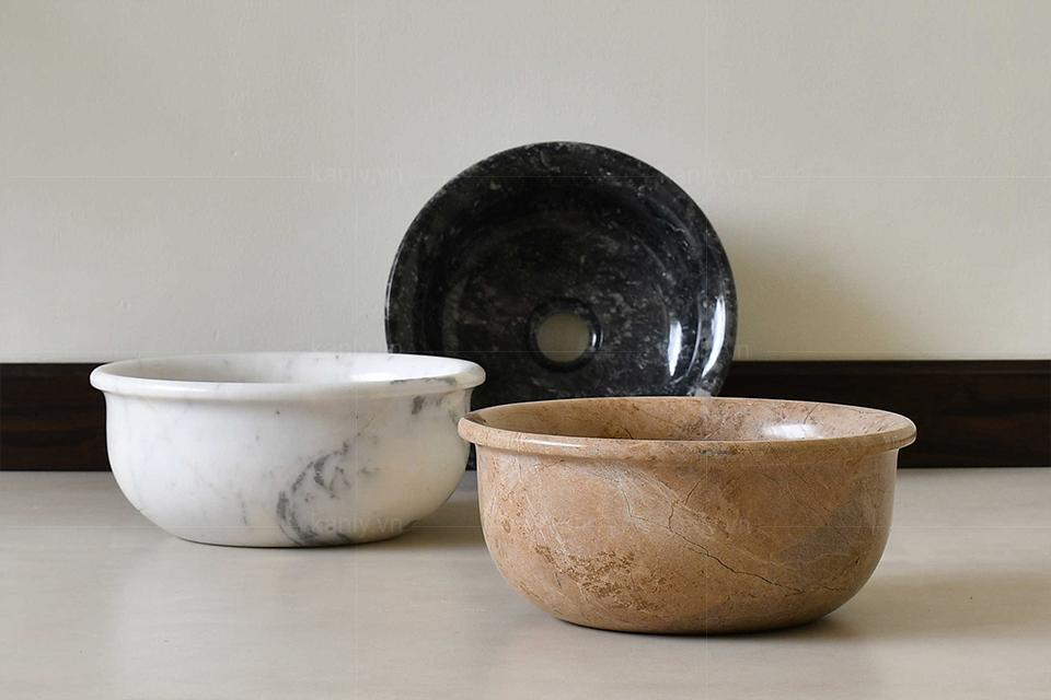 Bộ sưu tập 3 màu trắng, đen, vàng socola của lavabo đá tự nhiên