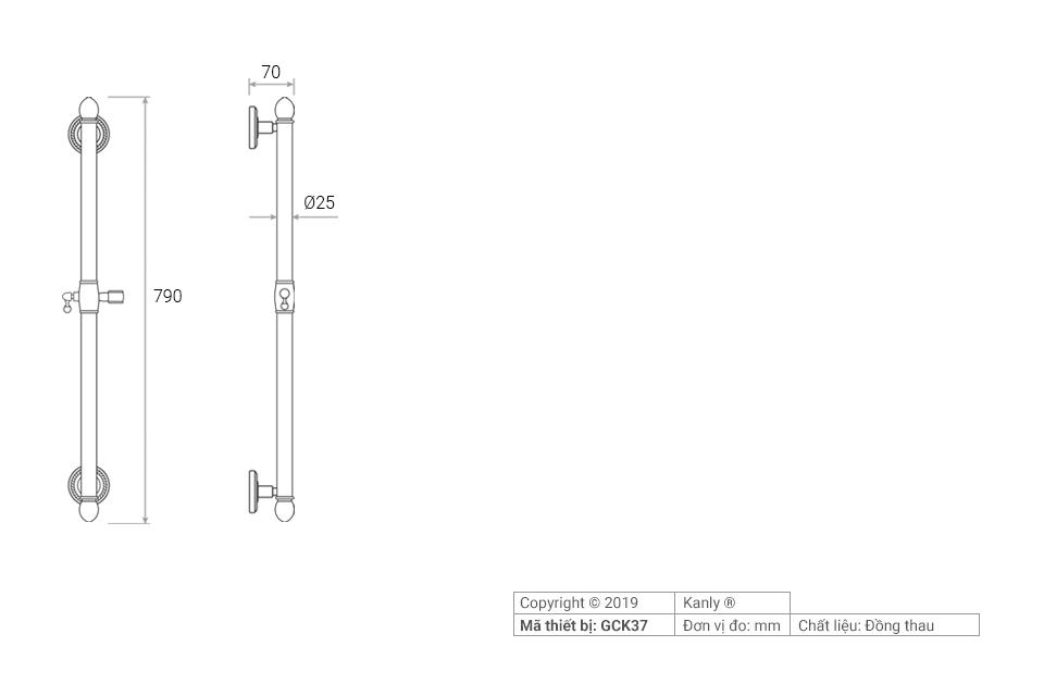 Thông số kỹ thuật lắp đặt thanh trượt sen tắm GCK37