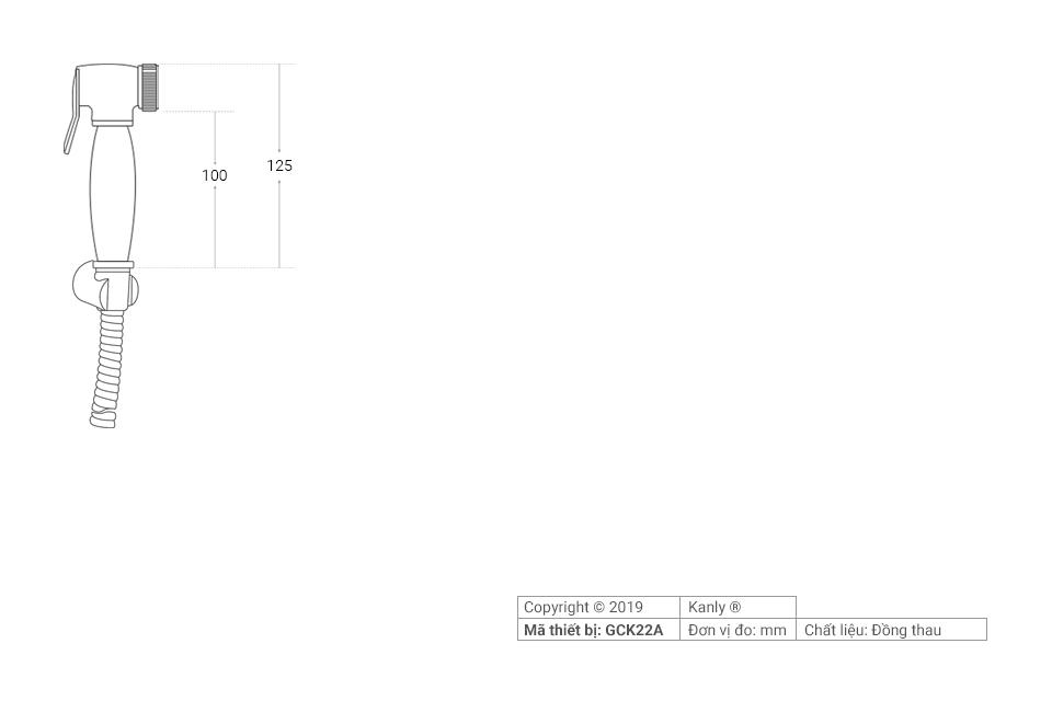 Thông số chi tiết lắp đặt vòi xịt toilet GCK22A
