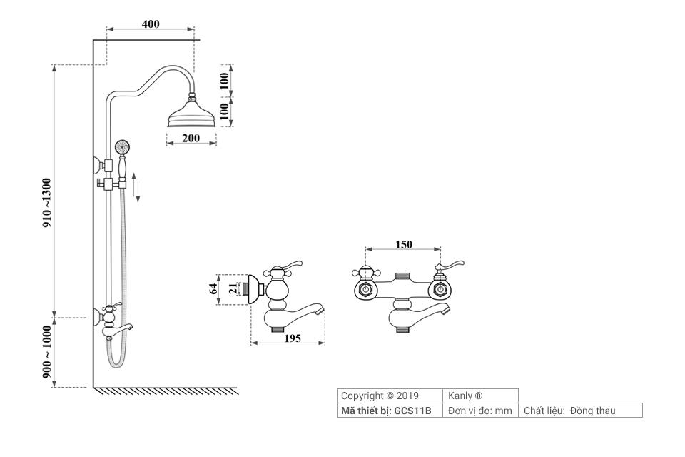 Thông số chi tiết lắp đặt vòi sen tắm đứng nóng lạnh GCS11B