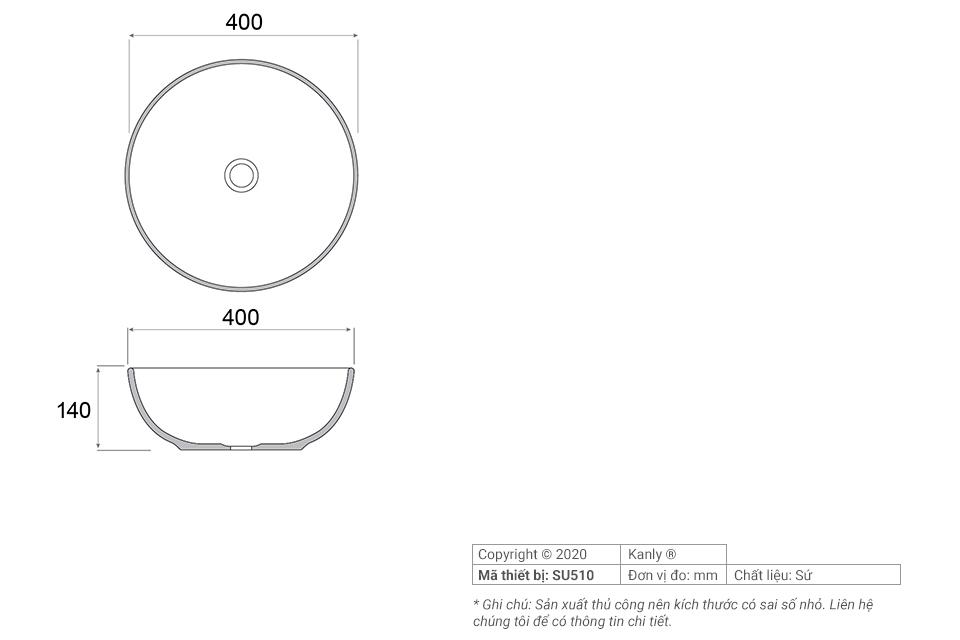 Thông số chi tiết lắp đặt lavabo sứ tròn màu hồng SU510