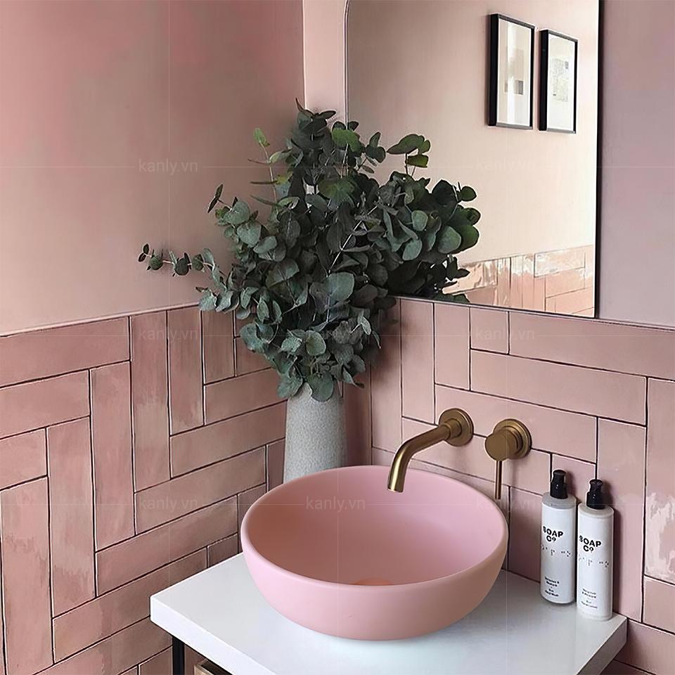 Lavabo sứ tròn màu hồng SU520 thanh lịch, tinh tế