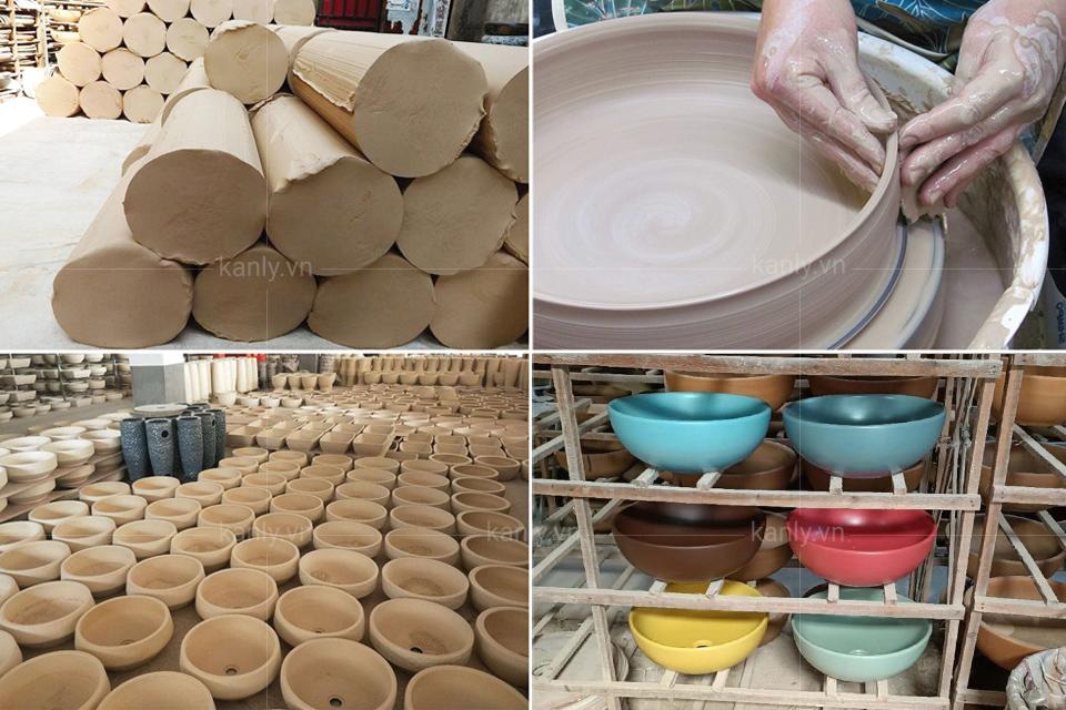 Công đoạn sản xuất chậu lavabo gốm sứ