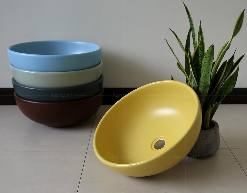 Bộ sưu tập chậu sứ tròn 10 màu sắc đa dạng do KanLy cung cấp