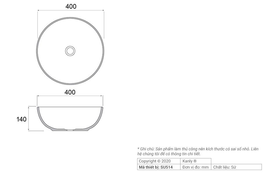 THông số chi tiết lắp đặt chậu sứ vàng tròn SU514