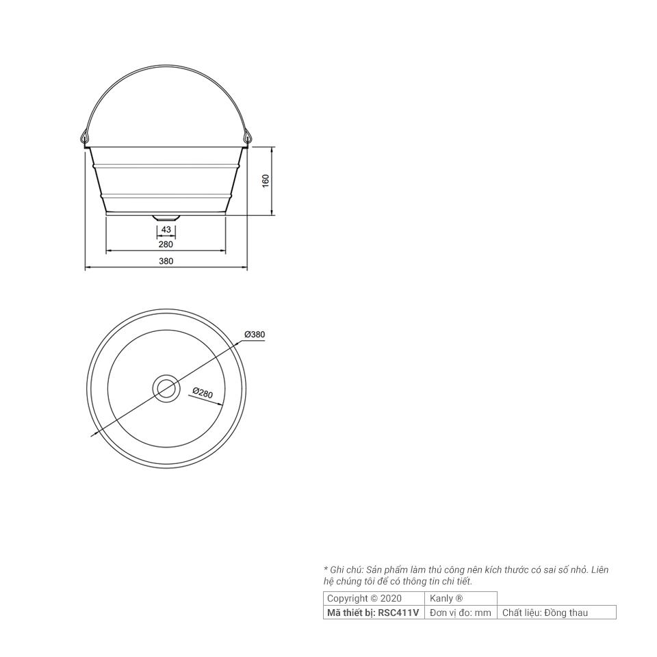 Thông tin chi tiết lắp đặt chậu lavabo bằng đồng RSC411V