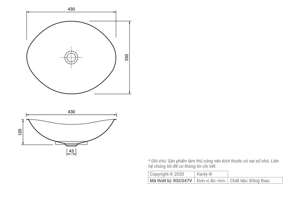 Thông số chi tiết lắp đặt bồn rửa tay bằng đồng RSC047V