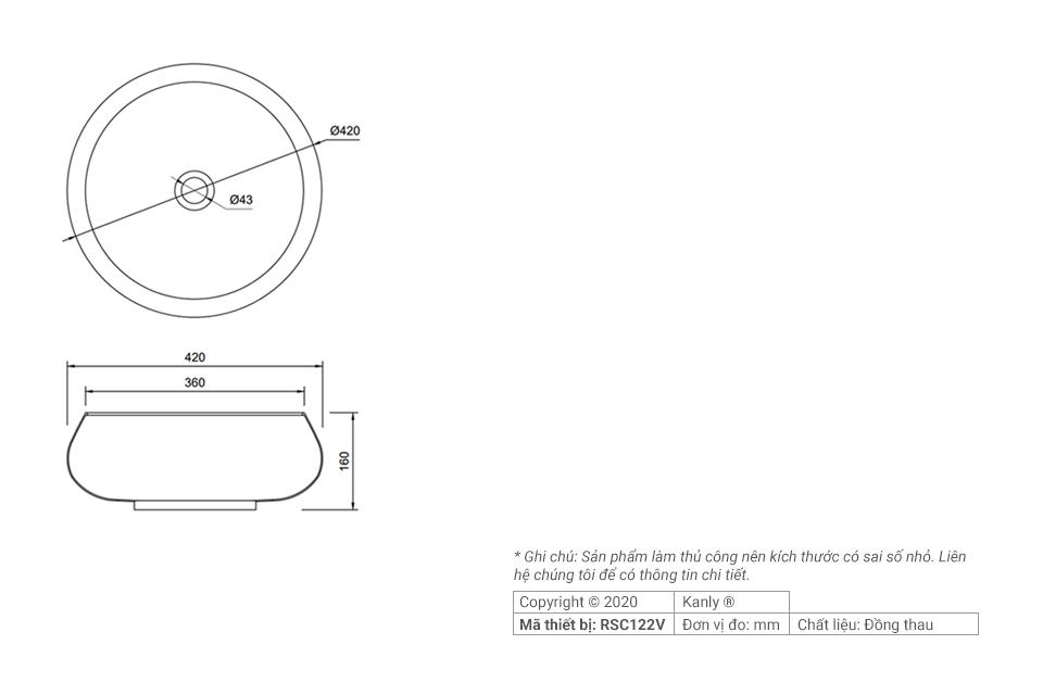 Thông số chi tiết bồn rửa tay đồng thau giả cổ RSC122V