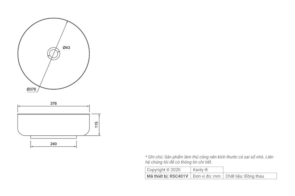 Thông số chi tiết lắp đặt bồn rửa tay bằng đồng thau RSC401V