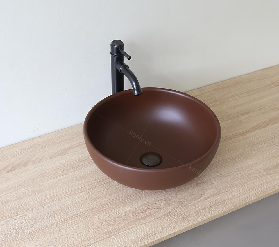 Chậu lavabo gốm sứ dạng tròn màu nâu