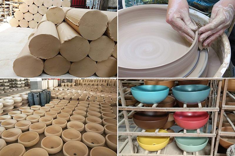 Công đoạn sản xuất lavabo sứ màu xanh ngọc SU516