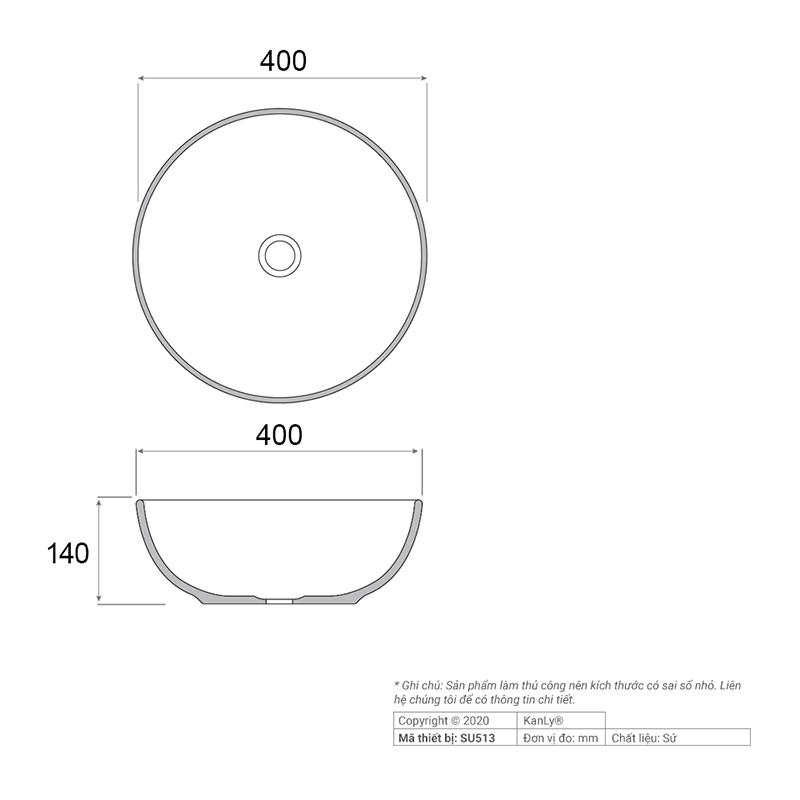 Thông số kỹ thuật lavabo tròn đặt bàn màu trắng SU513
