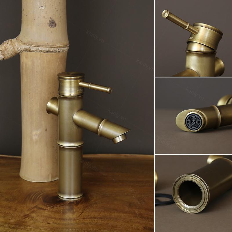 Thiết kế gần gũi với thiên nhiên của vòi đồng đúc hình ống tre GCV02