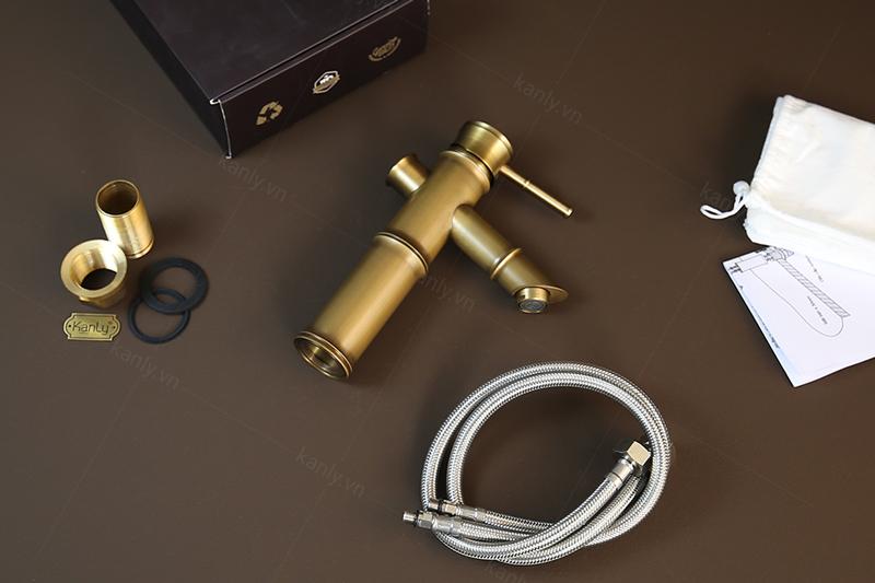 Mở hộp vòi đồng đúc hình ống tre GCV02