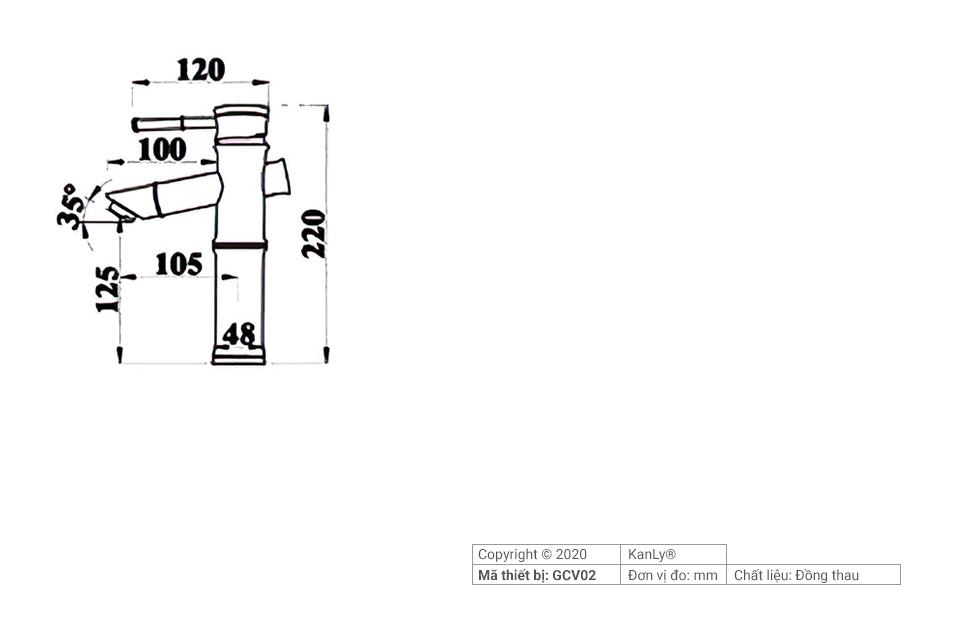 Thông số lắp đặt vòi đồng đúc hình ống tre GCV02