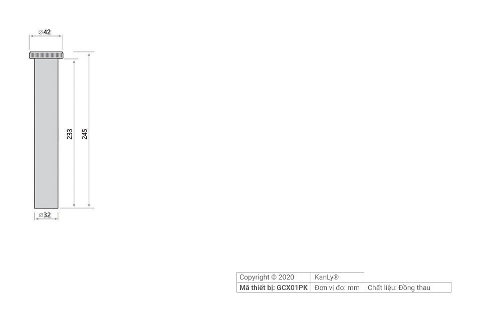 Thông số kích thước ống nối đầu xả lavabo 25cm GCX01PK