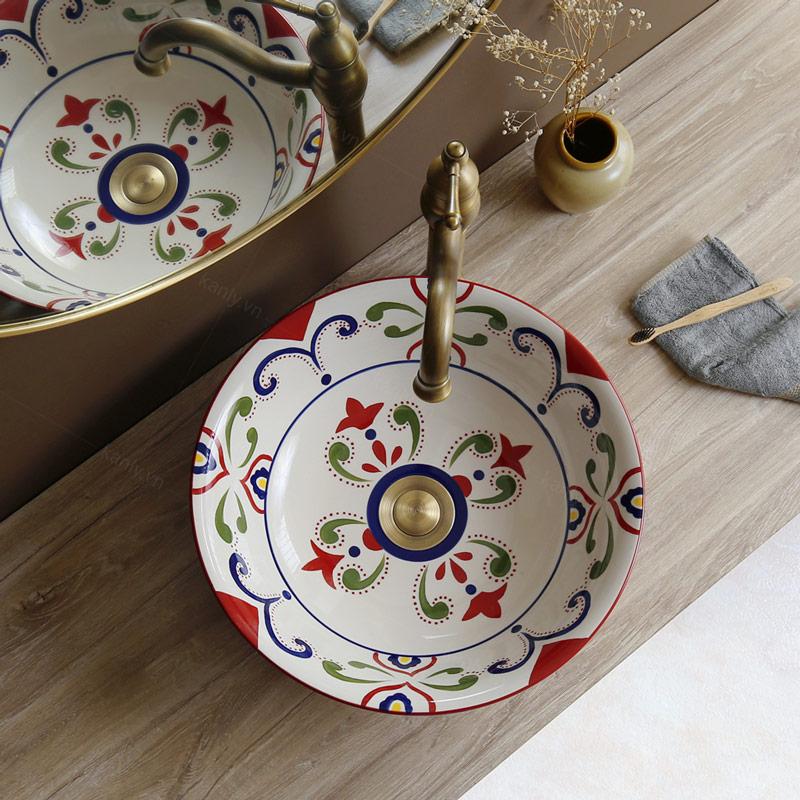 Lavabo sứ hoa văn SU402 mang phong cách văn hóa mỹ thuật Hồi Giáo