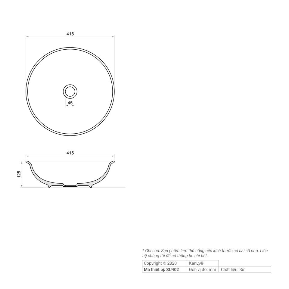Thông số kích thước chậu lavabo sứ hoa văn SU402