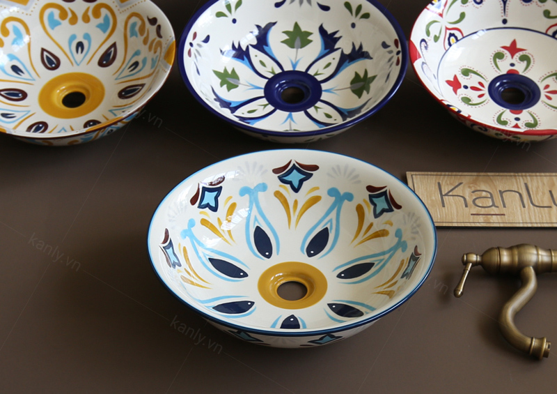 Bộ sưu tập đa dạng các mẫu chậu lavabo sứ hoa văn do KanLy cung cấp