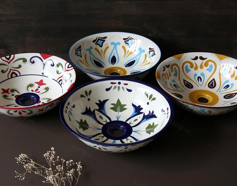 Các kiểu hoa vặn chậu rửa mặt gốm sứ do KanLy cung cấp