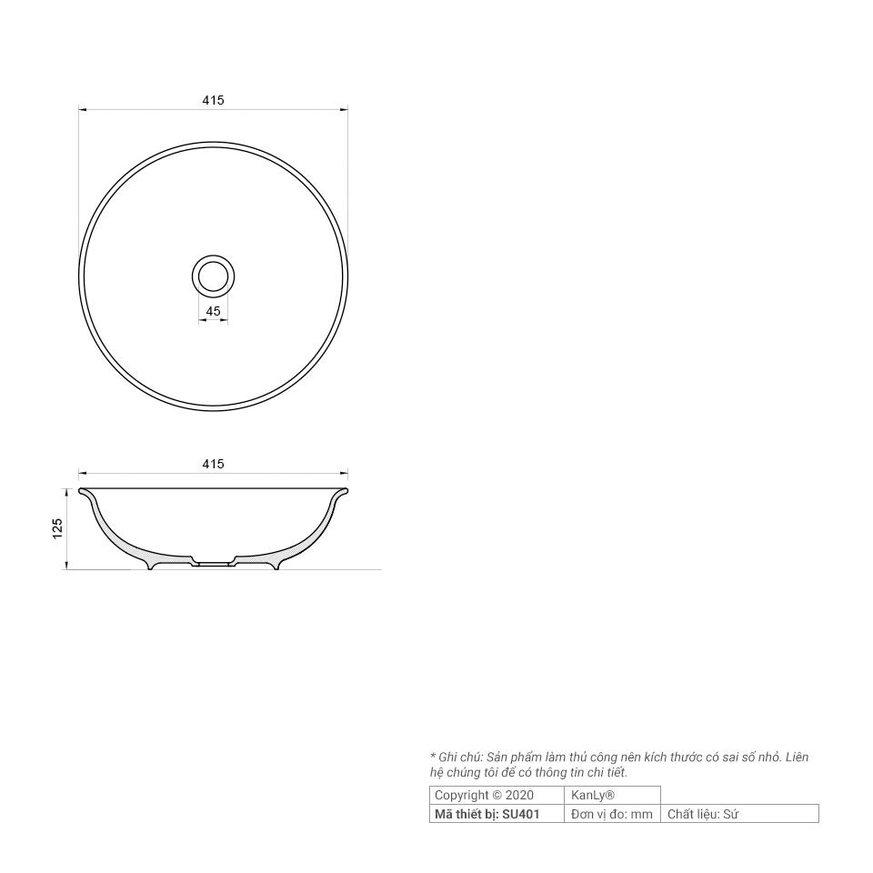 Thông số kích thước chậu rửa mặt gốm sứ SU401