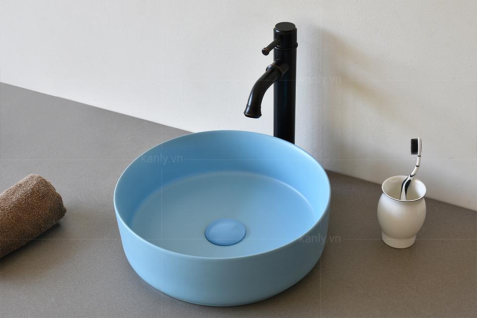Hoàn thiện lắp đặt phối cảnh lavabo màu xanh da trời SU525