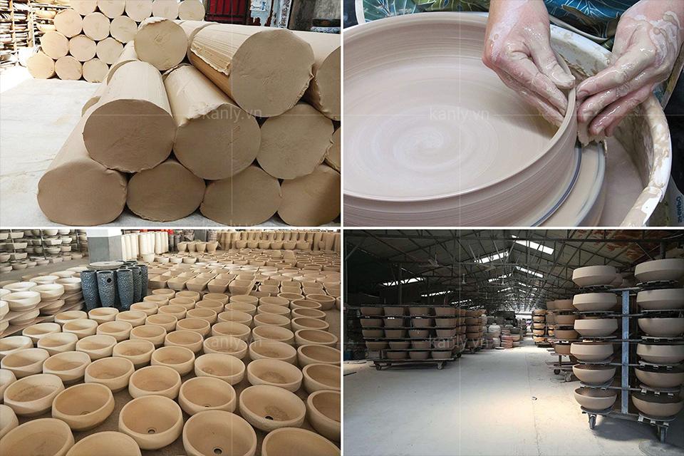 Chất liệu chậu sứ được làm từ đất sét nun nóng 1200°C