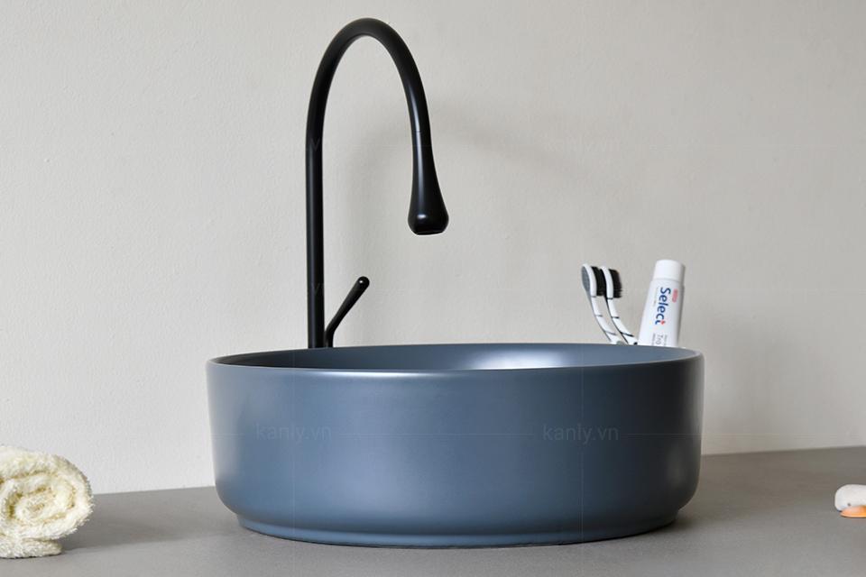 Kiểu dáng tối giản chậu lavabo sứ màu xám SU527