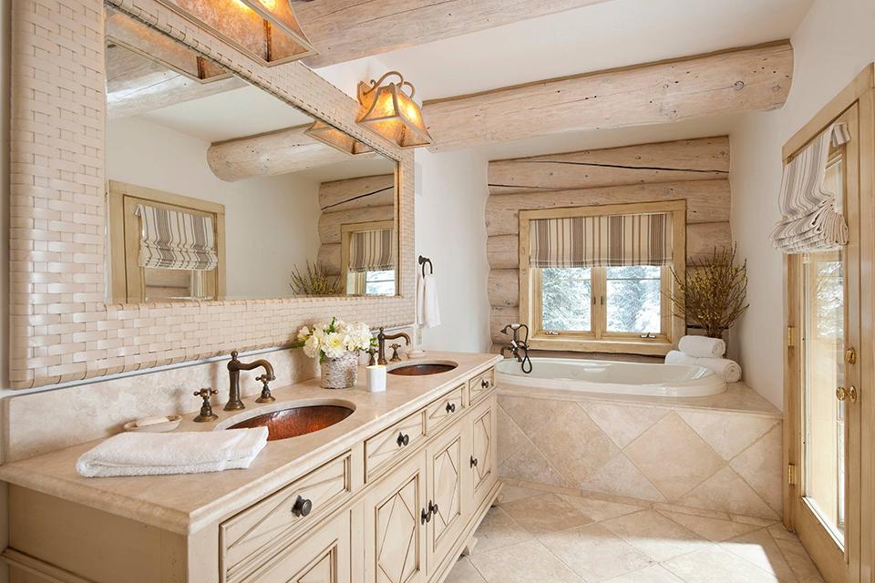 Cách làm sạch thiết bị vệ sinh trong phòng tắm phong cách rustic